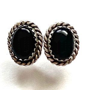 Sterling silver Onyx Stone stud earrings 925